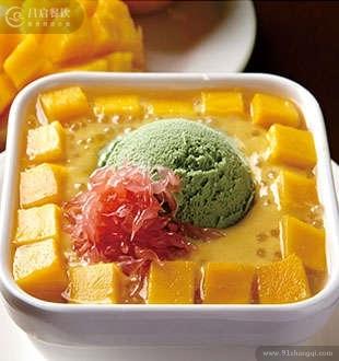 雪山杨枝甘露配绿茶雪糕_堂代甜品